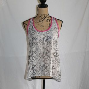 B Jewel Snakeskin Racer Back Ruched Sheer Tank